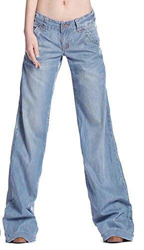 6ebd2b4eb4c3c Cruiize Womens Baggy Fit Low Rise Boyfriend Washed Wide-Leg Jeans Denim  Pants