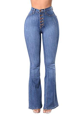 8187948a26f Women High Waist Bell Bottom Jeans Vintage Juniors Fitted Flare Denim Pants
