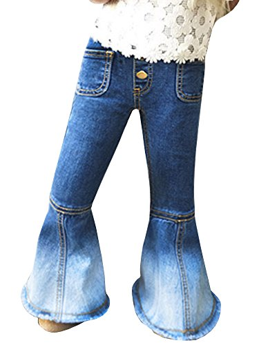 a86844bb4a2f8 Girl Jeans Cute Denim Pants Flare Leggings Bell Bottom Trousers 1-5 ...