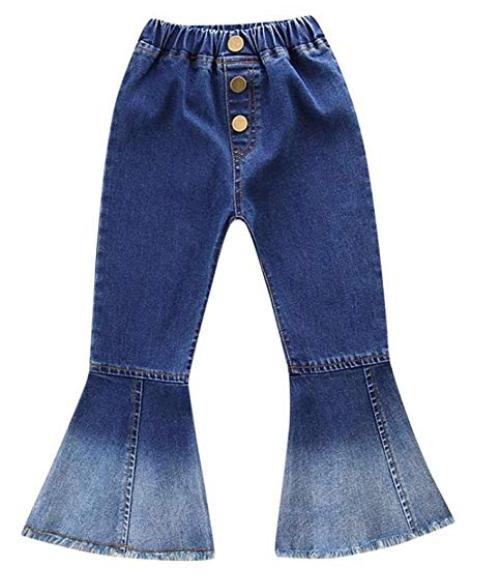 571ad8c9319 iumei 2-6 Years Old Kids Baby Girls Retro Jeans Bell-Bottoms Denim Pants