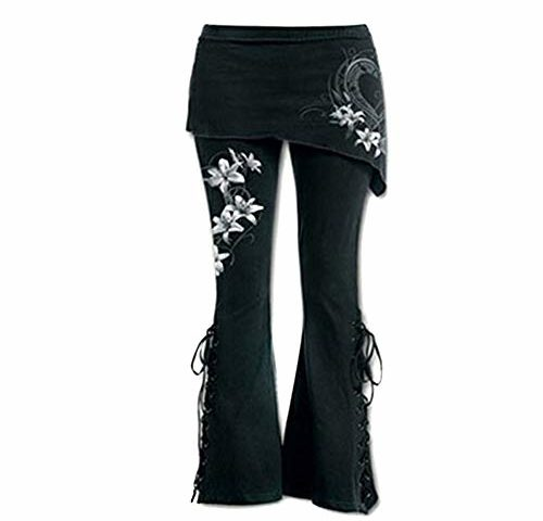 6aa0bb37d10ce Sunmoot Plus Size Women Black Embroidered Casual Bandage Punk Lace Up Bell  Bottom Wide Leg Jeans