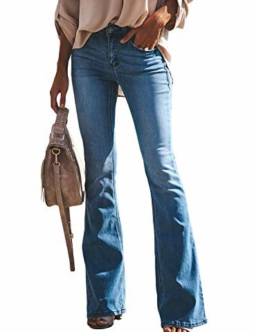 6bf6714b905e2 Sidefeel Women Ripped Flare Jeans Mid Rise Fitted Denim Pants