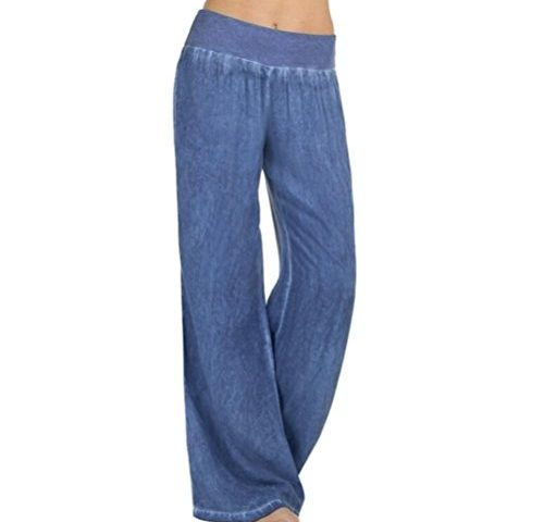 fd8cd5f1044 VEZAD Jeans High Waist Elasticity Denim Wide Leg Palazzo Pants Women Casual  Trousers · Bell Bottom ...