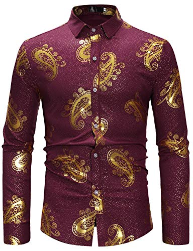 Smallwin Mens Print Business Stand Collar Long Sleeve Button Down Shirts