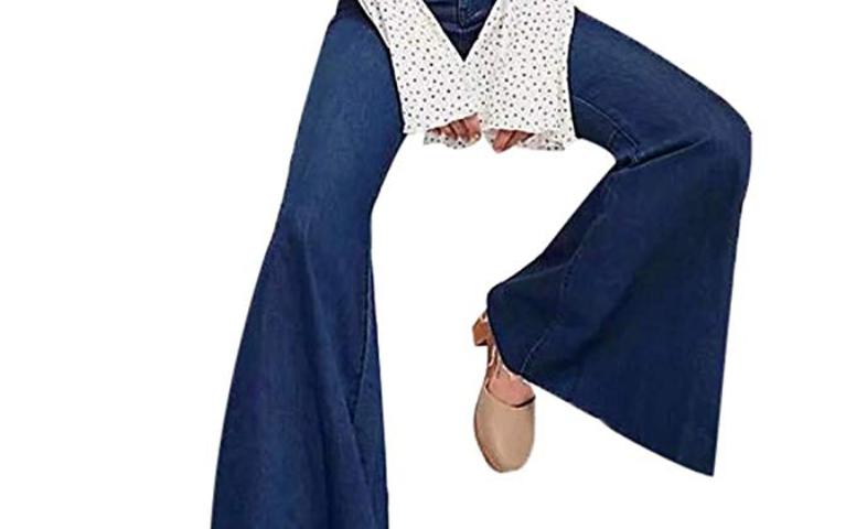 2b3bf883371 Yalasga Women Juniors Fitted Flared Denim Jeans Female High Waist Bell  Bottom Stretch Slim Sexy Horn Pants